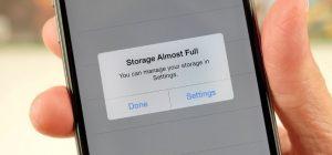 Storage almost full iPhone screenshot image iOS 10.3