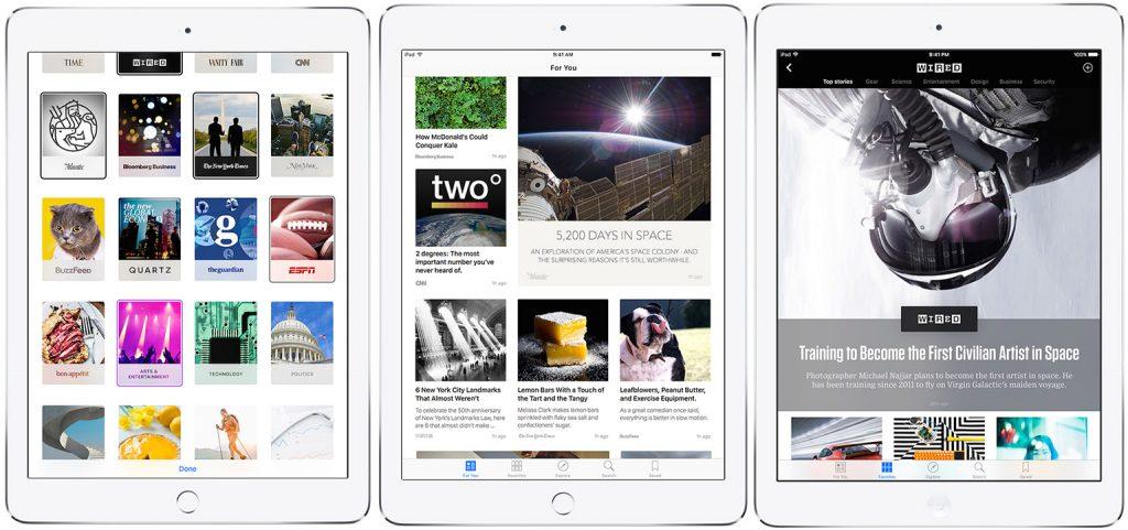 "Приложение ""Новости"" от Apple, запущенное на iPad"