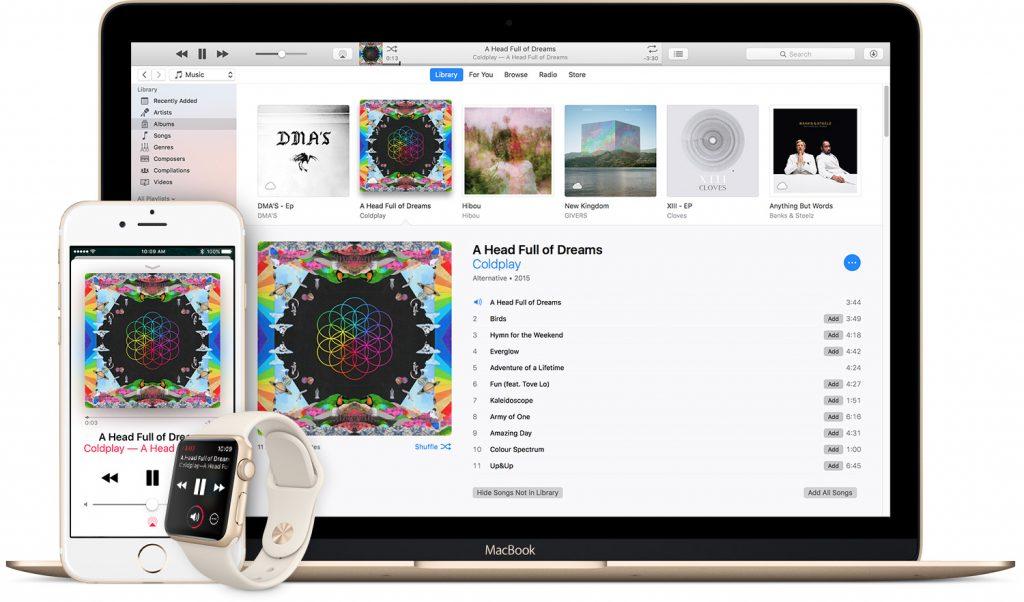 Скриншот приложения iTunes на MacBook