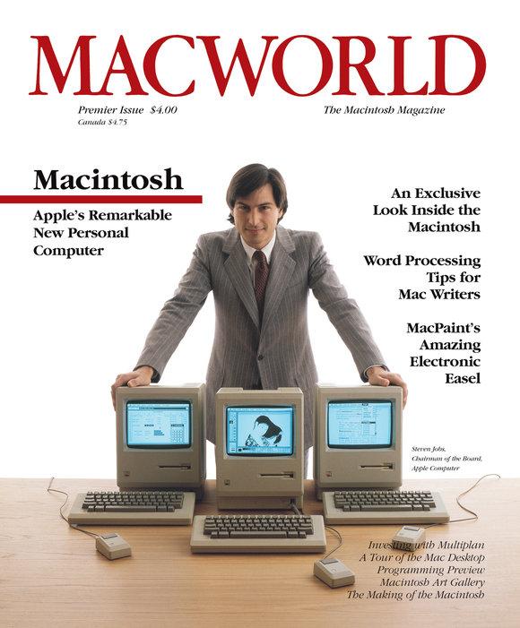 Обложка первого номера журнала MacWorld с фотографией Стива Джобса