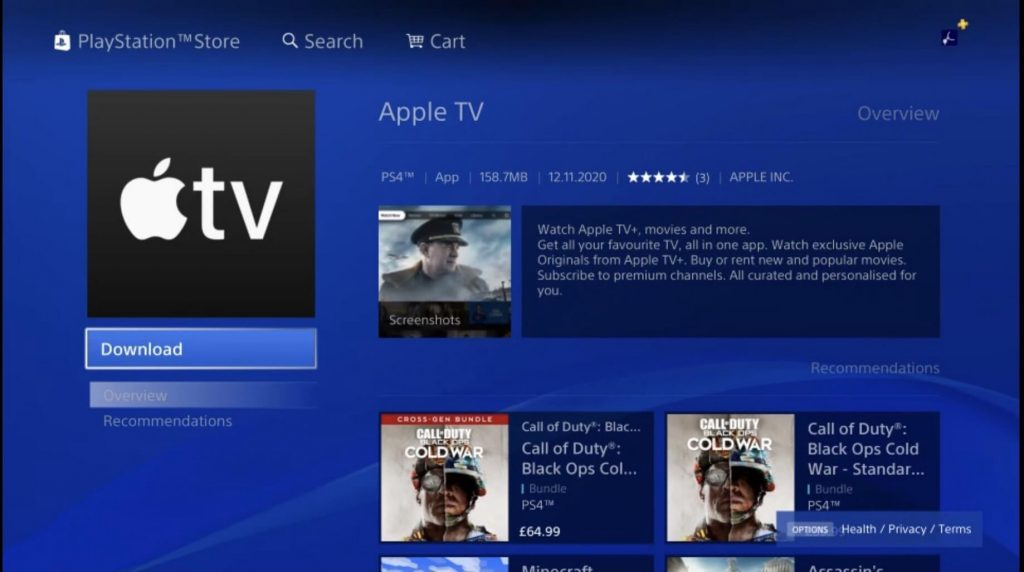 Apple TV, PlayStation